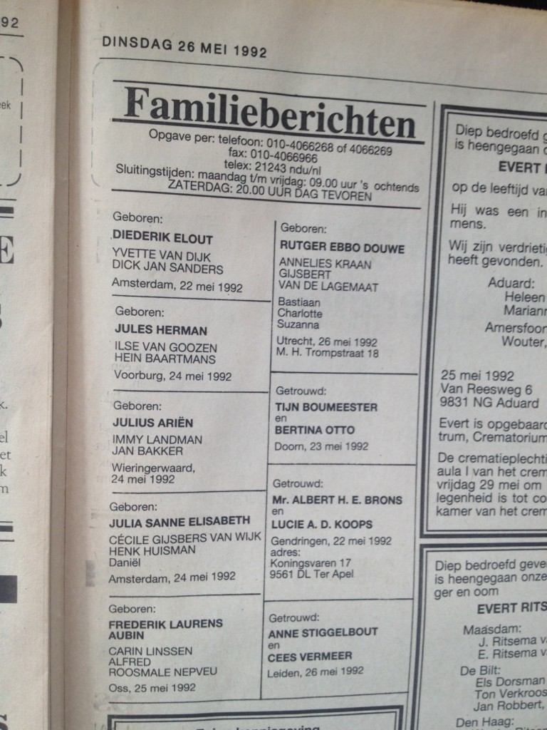 NRC familieberichten 1992