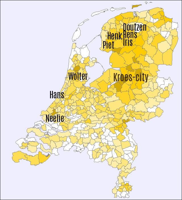 achternaam doutzen kroes populariteit nederland