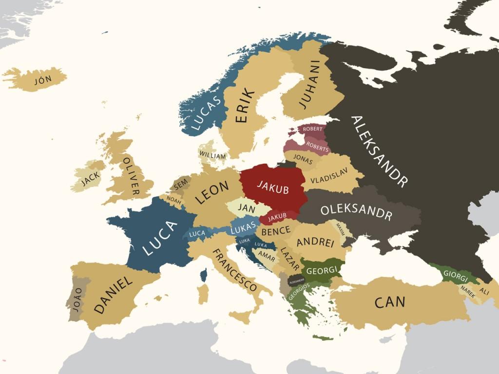 Europese Namen In Kaart Gebracht