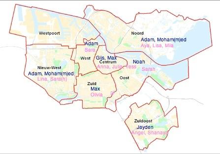 Populairste voornamen in Amsterdam per stadsdeel (2012-2013)