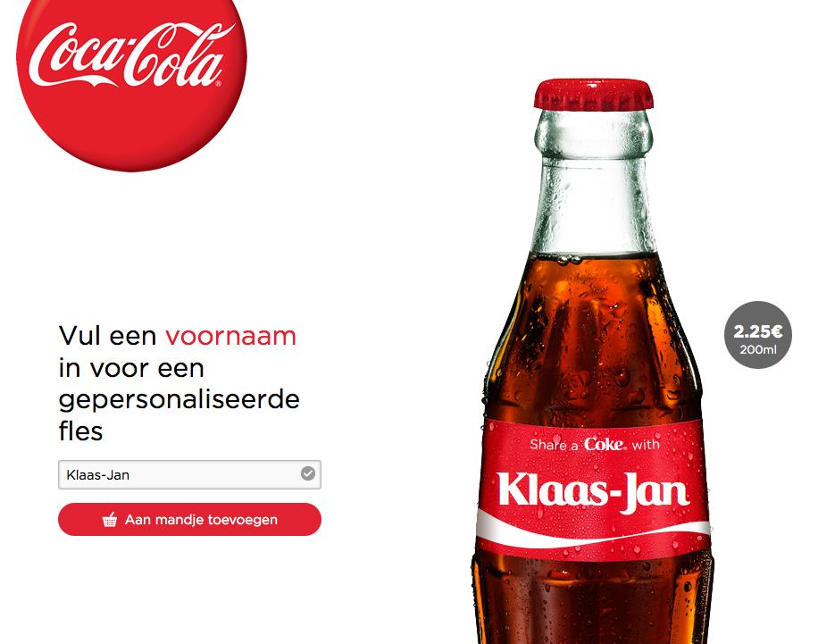 colaflesjes eigen naam coca cola
