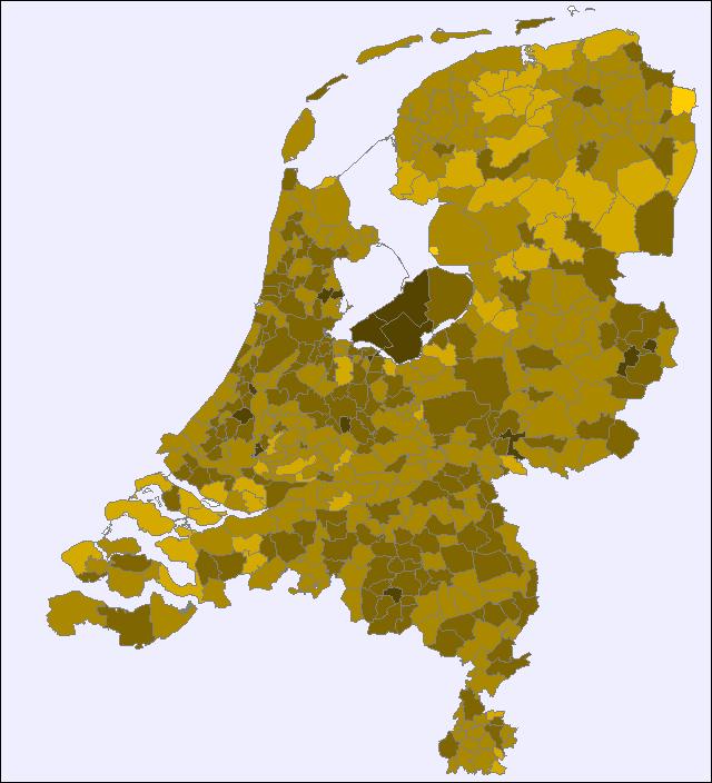 Verspreiding jongensnamen Tim, Tom en Thomas over Nederland